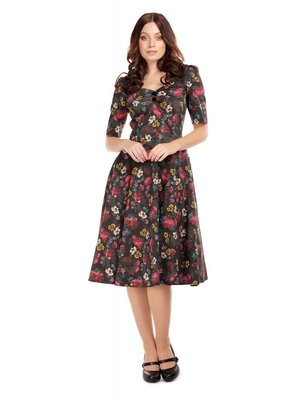 Collectif Dolores half sleeve Midnight Floral Doll Dress