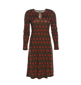 LaLaMour High Neck Twenties Dress - Green/Red