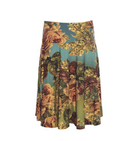 LaLaMour Circle Skirt Roses - green