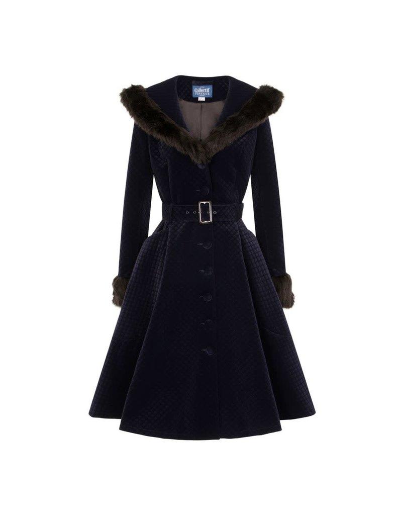 Collectif Callie Quilted Velvet Swing Coat