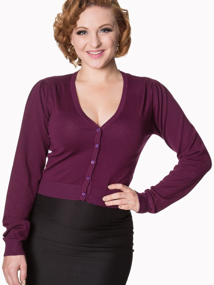 Banned Little luxury cropped cardigan -burgundy