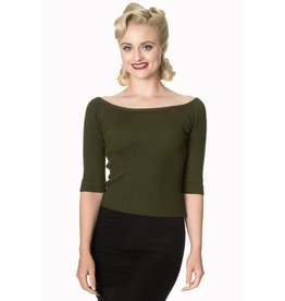 Banned Wickedly Wonderful knit top - Olive