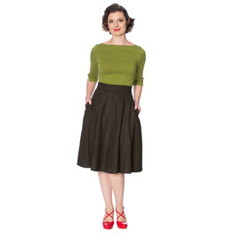Banned Sassy Swing Skirt - Dark Green