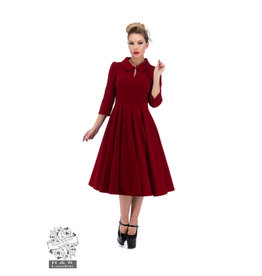 Hearts & Roses Velvet Tea Dress - Red