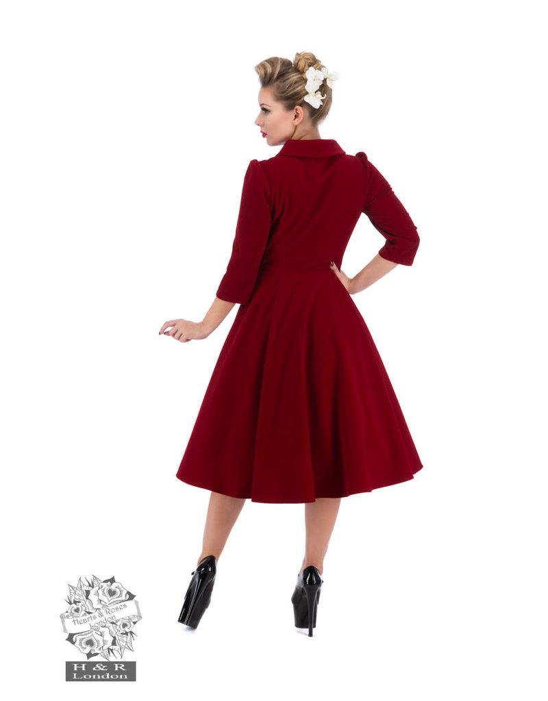 Hearts & Roses Velvet Tea Dress - Red