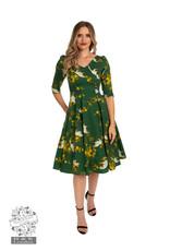Hearts & Roses Green Blossom Swing Dress
