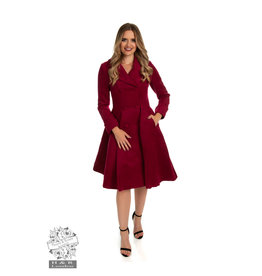 Hearts & Roses Eleanor Swing Coat - Wine