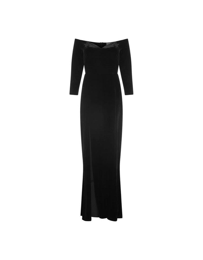 Collectif Anjelica Velvet Maxi-jurk - zwart