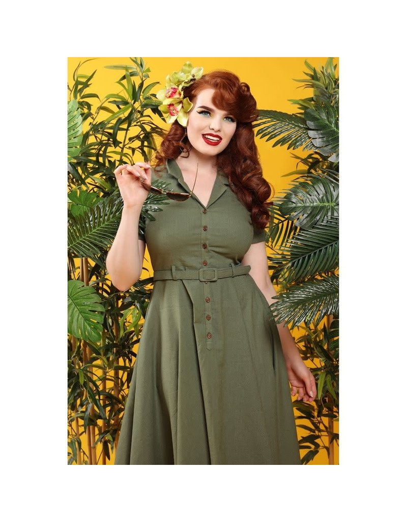 Collectif Caterina Vintage Swing Dress - Olive