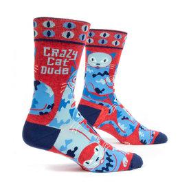 Blue Q Crazy Cat Dude - mens socks