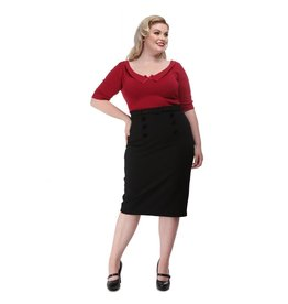 Collectif Agatha Plain Pencil Skirt black