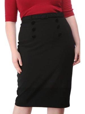 Collectif Agatha Plain Pencil Skirt black
