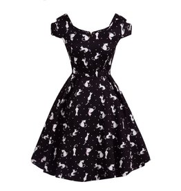 Lady V Bardot Tea Dress - Ditsy Cats
