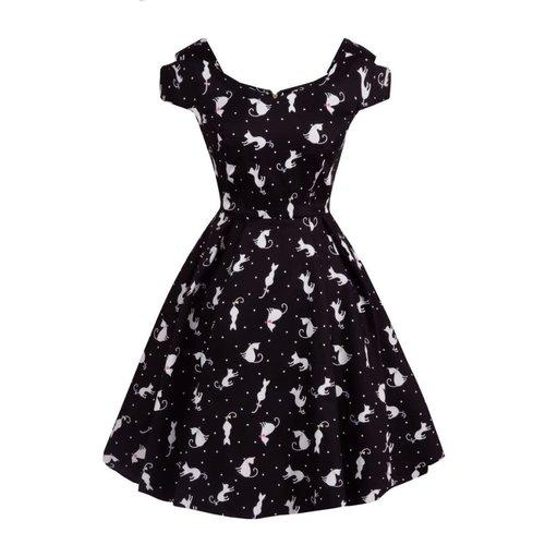 Lady V Bardot Tea Dress - Ditsy Cats