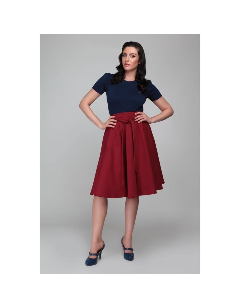 Collectif Florette effen swing rok - rood