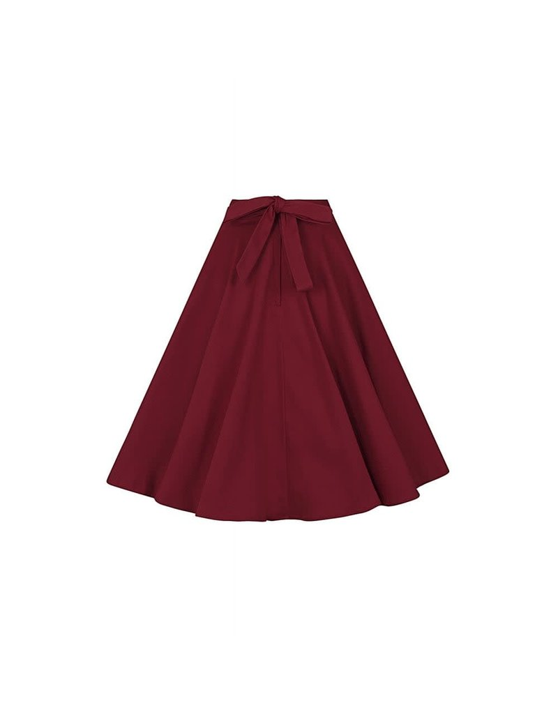 Collectif Florette Plain Swing Skirt - red