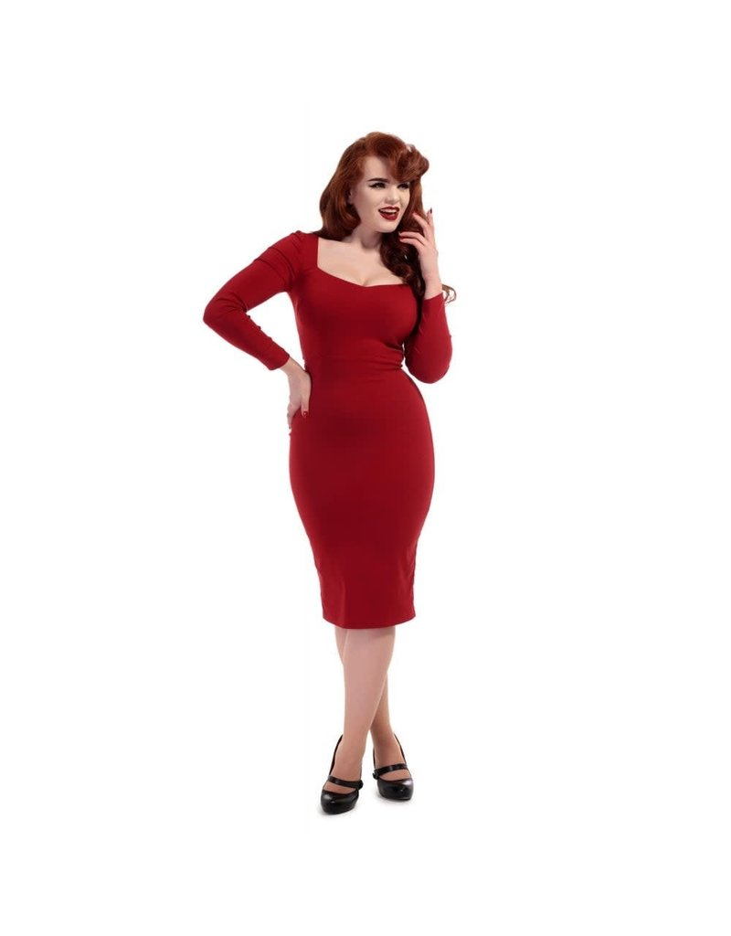 Collectif Helene Pencil Dress - rood