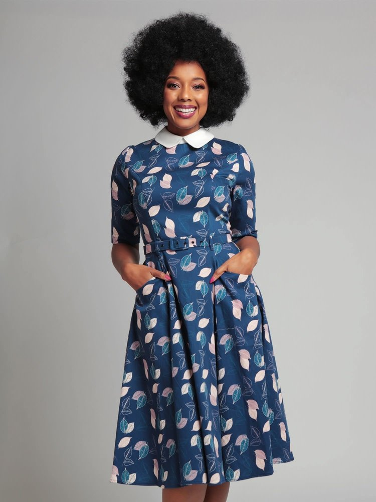 Collectif Winona Vintage Leaves Swing-jurk