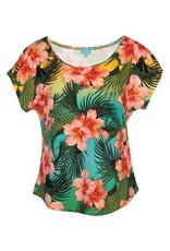 LaLaMour Loose Shirt Tropical - Green/Turquoise