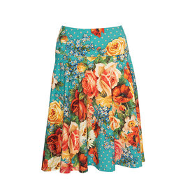 LaLaMour Cirkle Skirt Roses - Turquoise