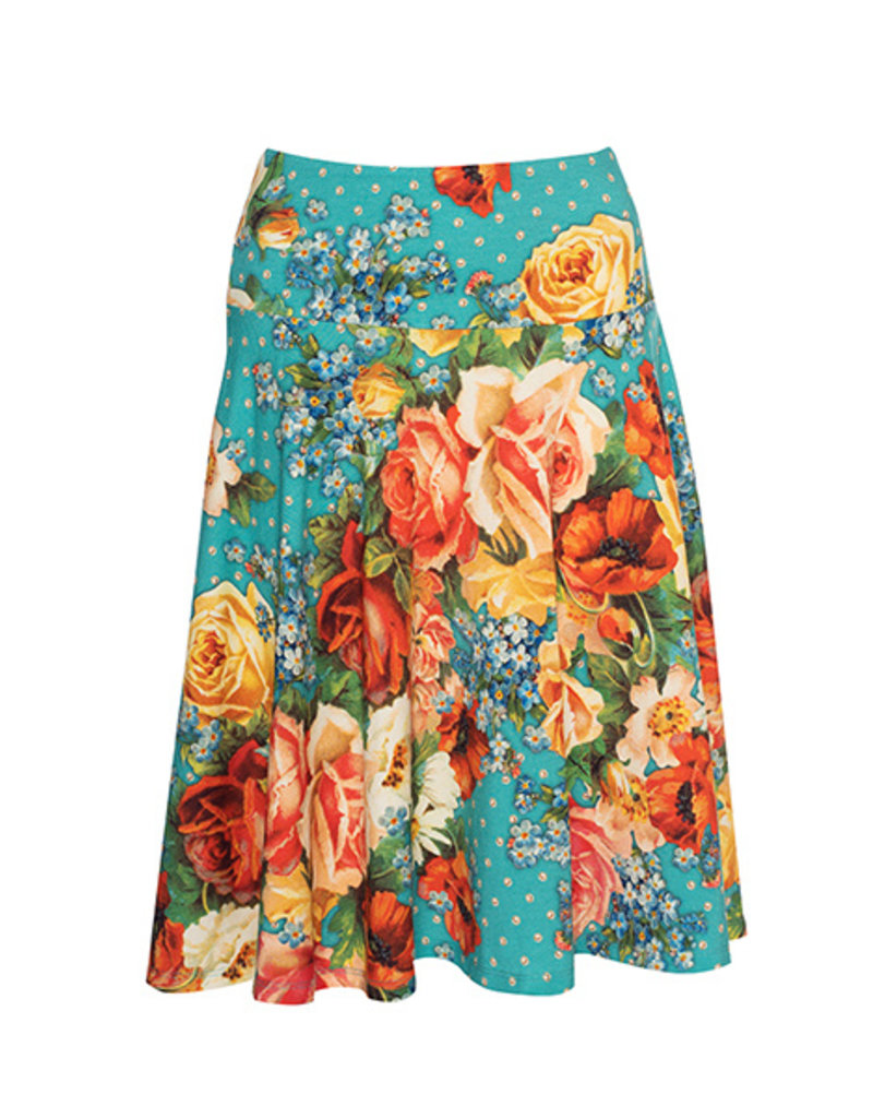 LaLaMour Cirkle Skirt Roses - Turquoise