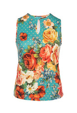LaLaMour Sleeveless top Roses - Turquoise