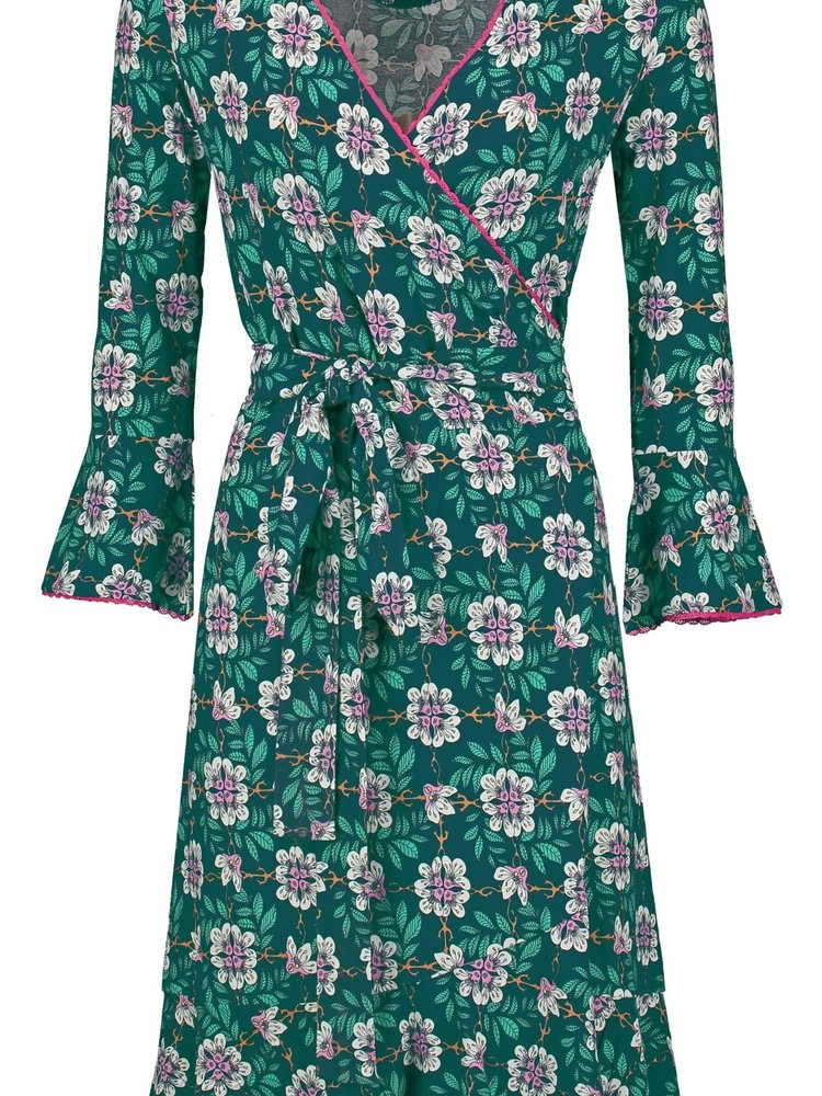 Tante Betsy Ruffle Wrap Dress Forest Flower Green