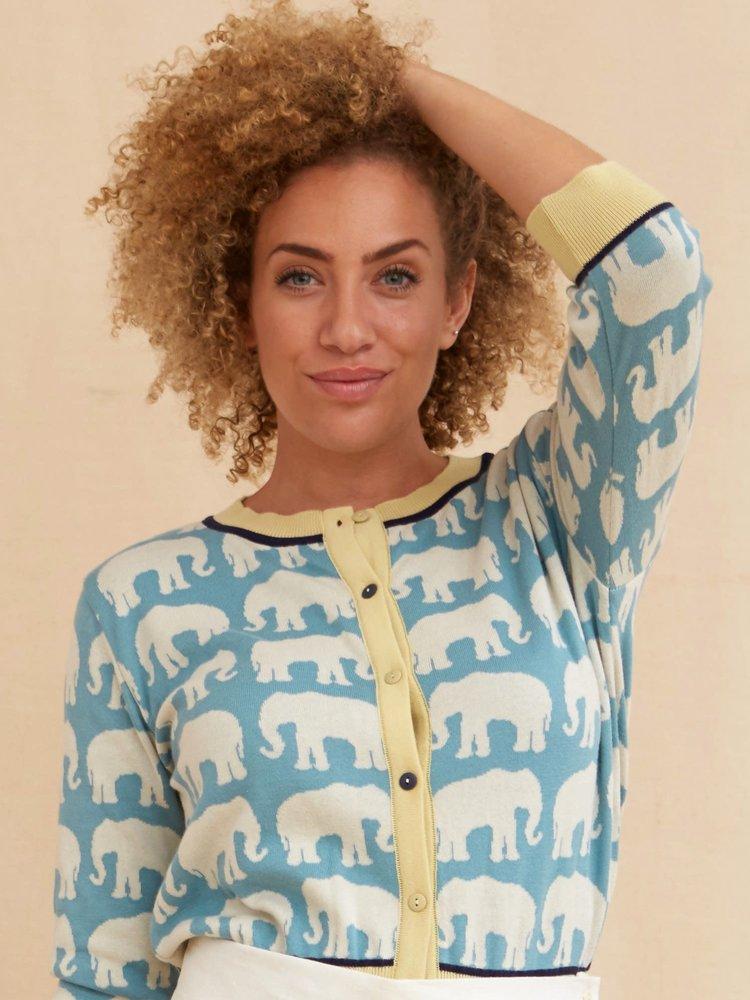 Palava Classic Cardigan - Light Blue Ivory Elephant