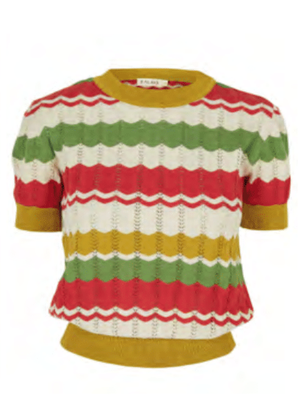 Palava Eve Zigzag Knitted Top - Red/Mustard