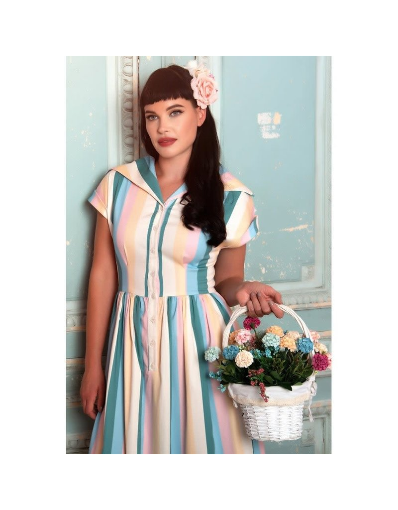 Collectif Judy Teacup Stripe Swing-jurk
