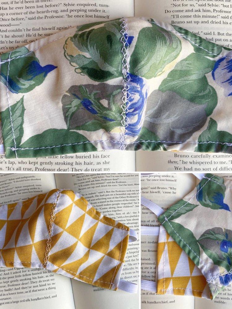 Mondkapje floral/geel geometrisch