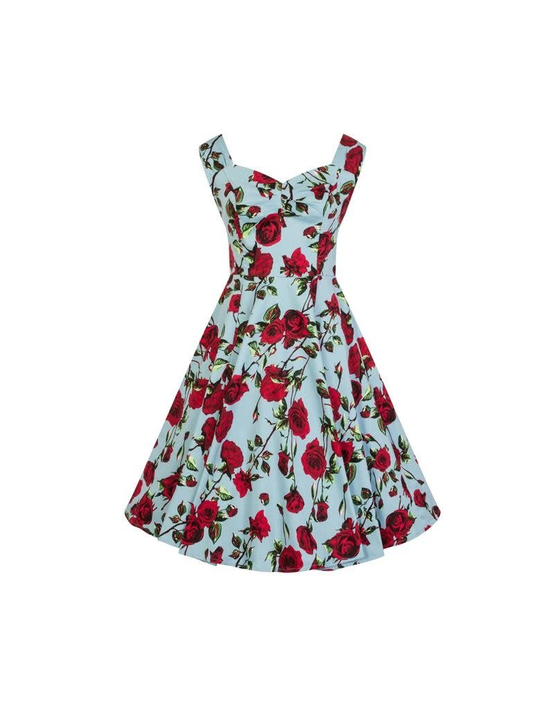 Hearts & Roses Ditsy Rose Floral Dress in blue