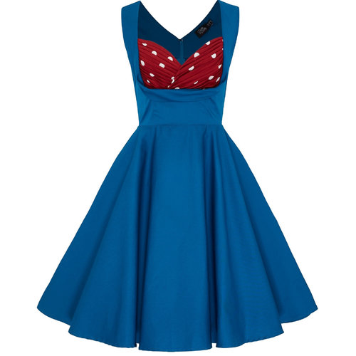 Dolly & Dotty Grace Dress Peacock Blue & Polka dots