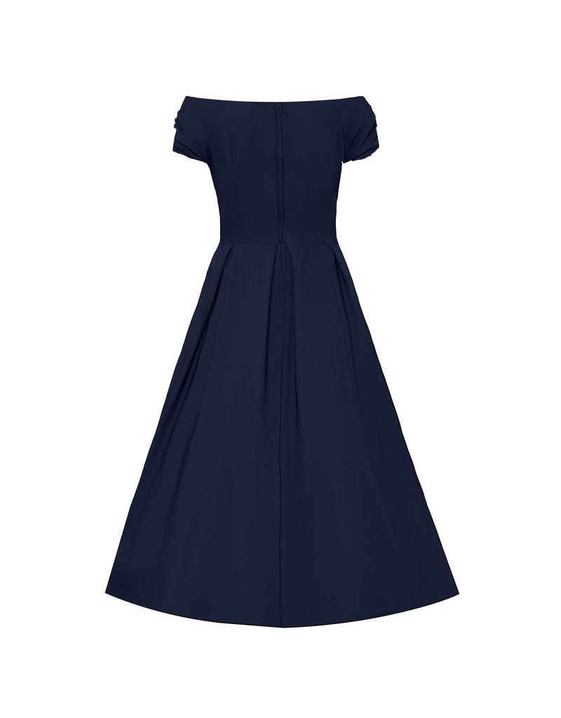 Dolly & Dotty Lily Off The Shoulder Dress Navy Blue