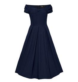 Dolly & Dotty Lily Off The Shoulder Dress Navy Blue
