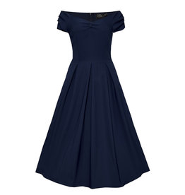 Dolly & Dotty Lily Off The Shoulder Jurk Navy Blue