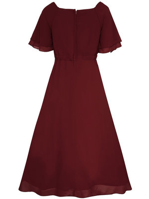 Dolly & Dotty Meredith Chiffon Dress in Burgundy