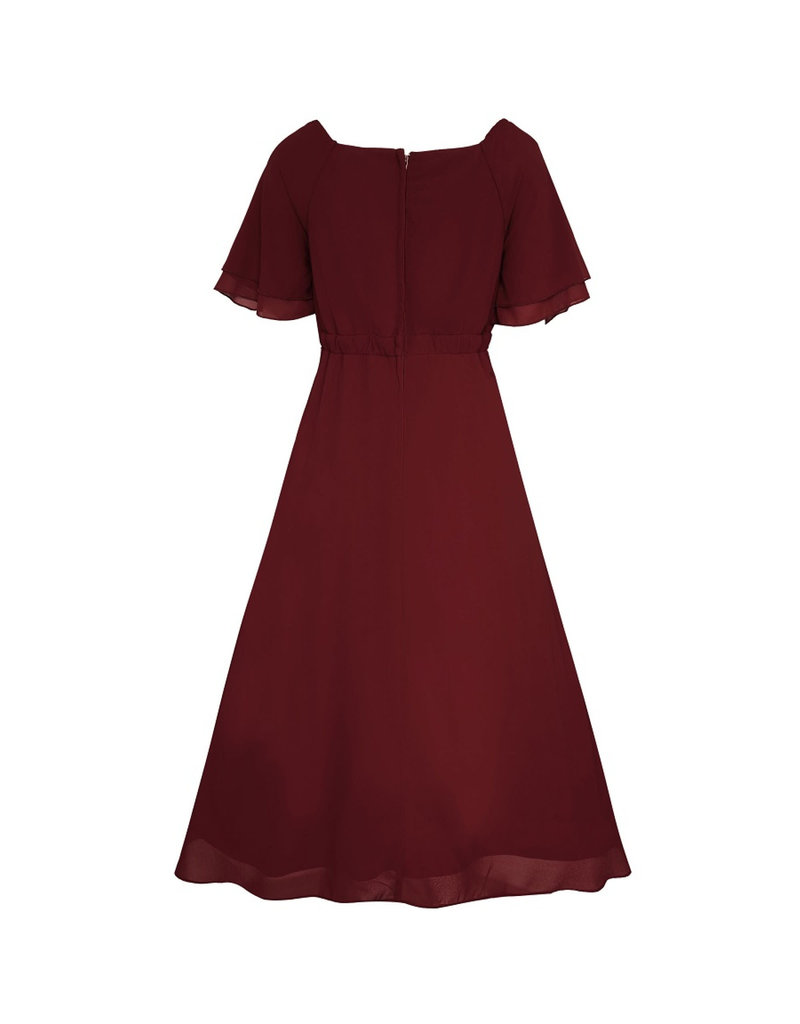 Dolly & Dotty Meredith Chiffon Dress in Burgundy
