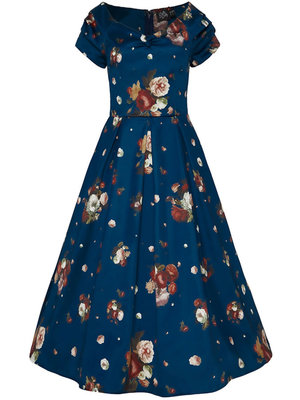 Dolly & Dotty Lily Off The Shoulder Dress - Blue floral
