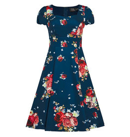 Claudia Dress Teal Blue and Roses