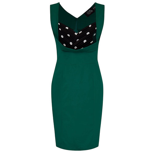 Dolly & Dotty Georgette Wiggle Dress In Green Polka Dots