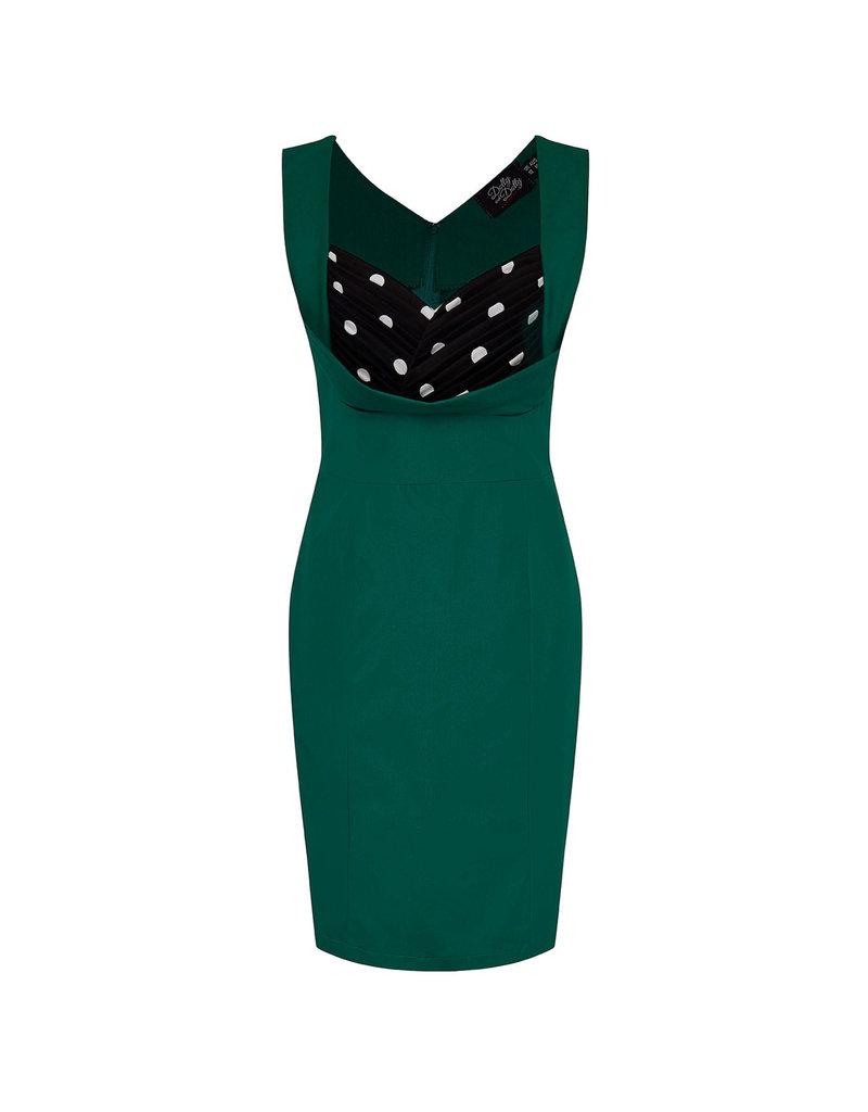 Dolly & Dotty Georgette Wiggle Dress In Green Polka Dots