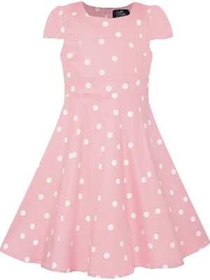 Dolly & Dotty Kids Claudia Polka Dot jurk in roze / wit