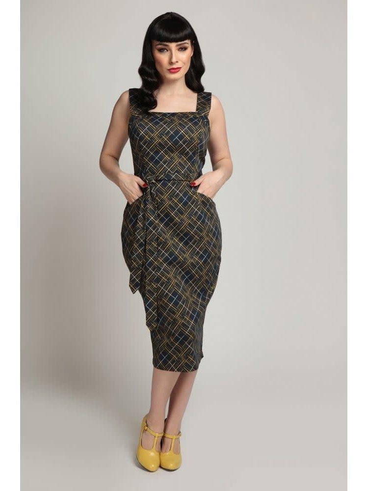 Collectif Tess Hatch Check Pencil Dress