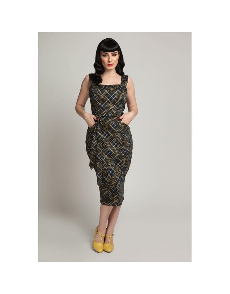 Collectif Tess Hatch Check Pencil Dress