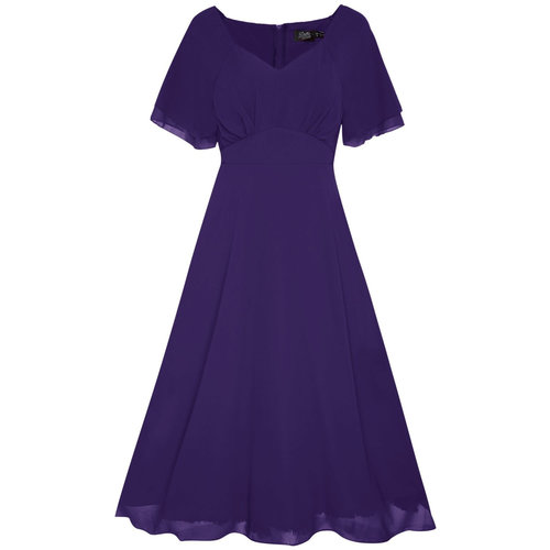 Dolly & Dotty Meredith Chiffon Dress in Purple