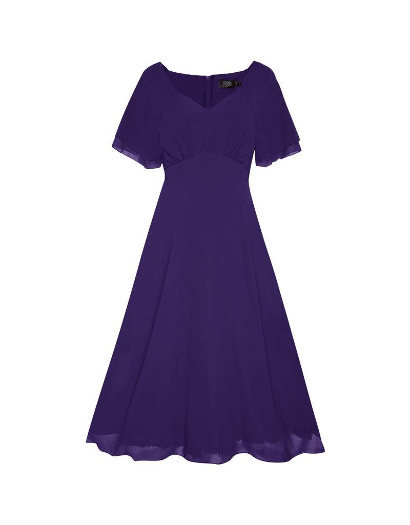 Dolly & Dotty Meredith Chiffon Dress in Purple