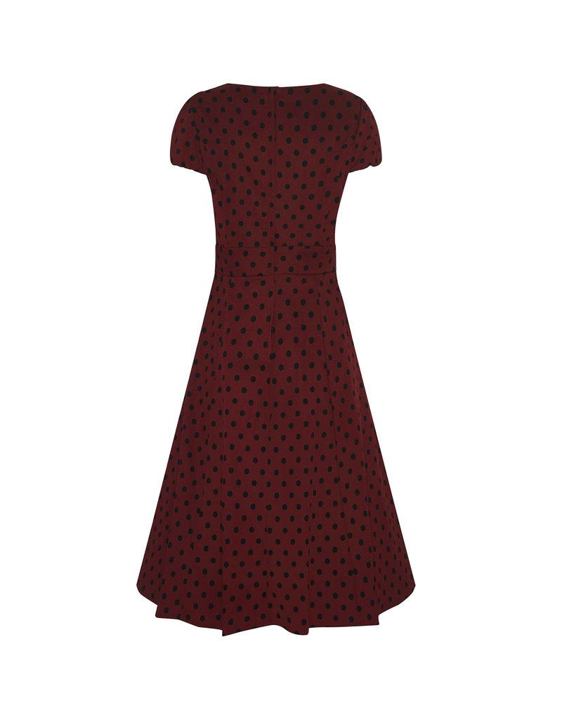 Dolly & Dotty Claudia Polka Dot Dress in Burgundy/Black