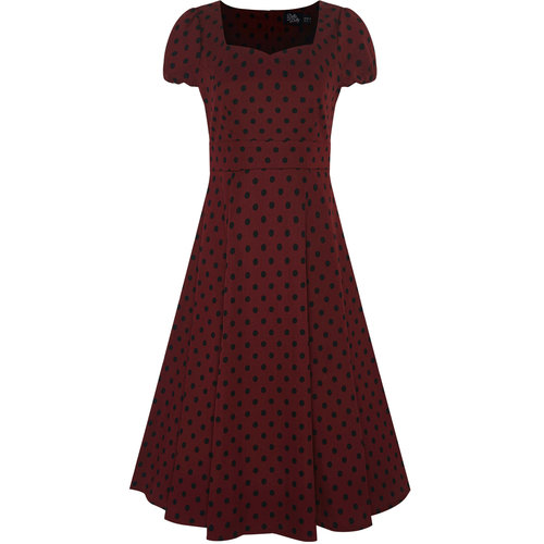 Dolly & Dotty Claudia Polka Dot Dress in Burgundy/Black