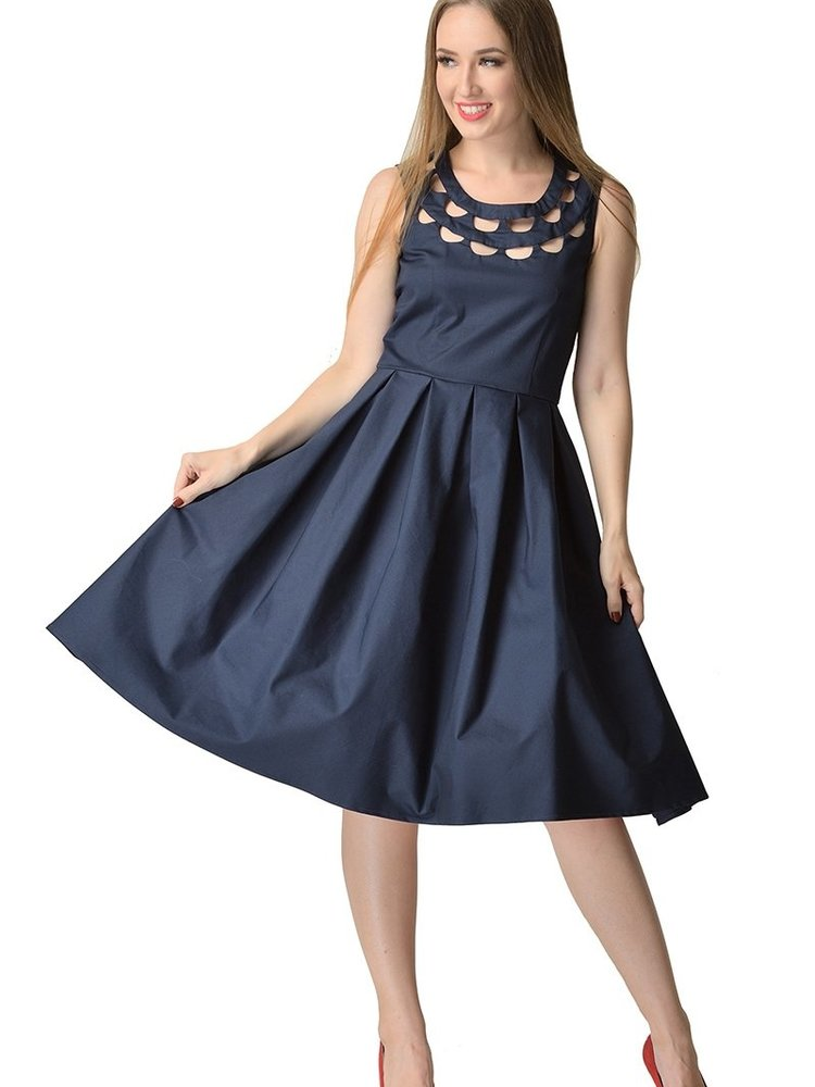 Dolly & Dotty Elaine Dress in Petrol Blue